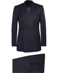 Kingsman - Navy Double-breasted Super 120s Wool Suit - Lyst