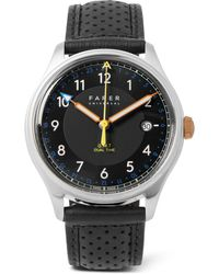 Farer - Carter Ii Gmt Stainless Steel And Leather Watch - Lyst