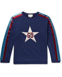 Gucci - Logo-appliquéd Satin Twill-trimmed Loopback Cotton-jersey Sweatshirt - Lyst