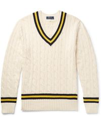 Polo Ralph Lauren - Striped Cable-knit Cotton And Cashmere-blend Jumper - Lyst