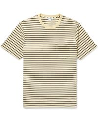 FRAME - Striped Cotton-jersey T-shirt - Lyst