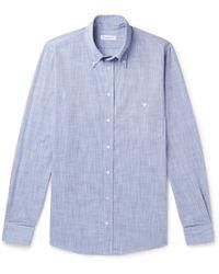 Richard James - Button-down Collar Mélange Cotton Shirt - Lyst