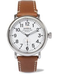 Shinola - The Runwell Stainless Steel And Leather Watch - Lyst