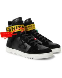 Off-White c/o Virgil Abloh   Grosgrain And Suede-trimmed Leather High-top Trainers   Lyst