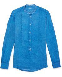 Massimo Alba - Kos Grandad-collar Linen Shirt - Lyst