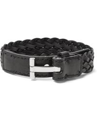 Tom Ford - Woven Leather And Silver-tone Bracelet - Lyst