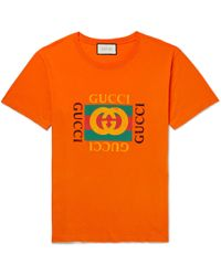 Gucci - Distressed Printed Cotton-jersey T-shirt - Lyst