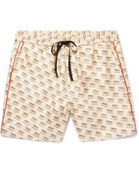 Gucci - Slim-fit Piped Logo-print Silk-twill Shorts - Lyst