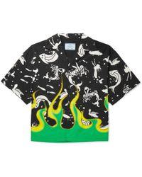 Prada - Camp-collar Printed Cotton-poplin Shirt - Lyst