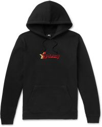 Stussy - Logo-embroidered Fleece-back Cotton-blend Jersey Hoodie - Lyst
