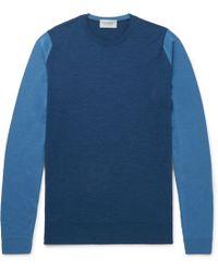 John Smedley - Hindlow Two-tone Merino Wool Sweater - Lyst