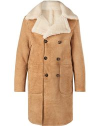 Officine Generale - Arnie Double-breasted Shearling Coat - Lyst