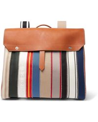 Maison Margiela - Leather And Striped Canvas Backpack - Lyst