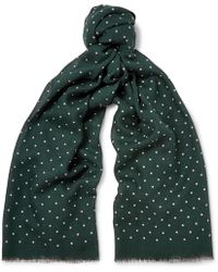 J.Crew - Polka-dot Wool And Silk-blend Scarf - Lyst