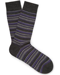 Pantherella - Striped Merino Wool-blend Socks - Lyst