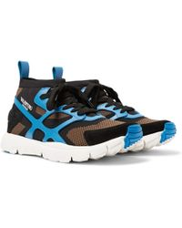 Valentino Garavani Sound High Suede And Leather-trimmed Mesh Sneakers - Blue