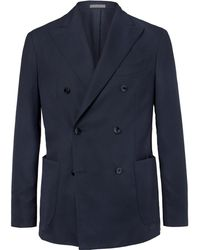 Boglioli - Navy Slim-fit Unstructured Double-breasted Virgin Wool Hopsack Blazer - Lyst