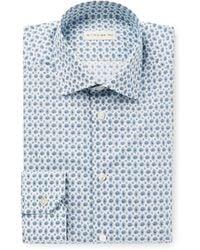 Etro - White Slim-fit Paisley-print Stretch-cotton Poplin Shirt - Lyst