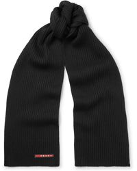 Prada - Ribbed Virgin Wool Scarf - Lyst