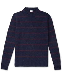 Aspesi Striped Donegal Wool Jumper - Blue