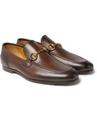 Gucci - Jordaan Horsebit Burnished-leather Loafers - Lyst