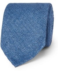 Drake's - 8cm Herringbone Linen Tie - Lyst