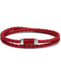 Tateossian - Montecarlo Woven Leather And Sterling Silver Bracelet - Lyst