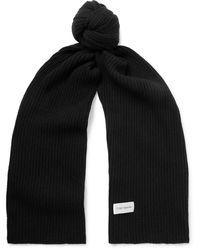 Oliver Spencer Ribbed Wool-blend Scarf - Black