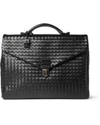 Bottega Veneta - - Intrecciato Leather Briefcase - Black - Lyst