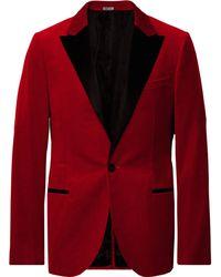 Lanvin - Claret Slim-fit Satin-trimmed Cotton-velvet Tuxedo Jacket - Lyst