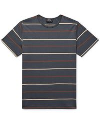 A.P.C. - Jimmy Striped Cotton-jersey T-shirt - Lyst