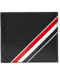 Thom Browne - Striped Pebble-grain Leather Billfold Wallet - Lyst