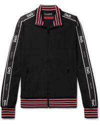 Dolce & Gabbana - Logo Satin-trimmed Stretch-jersey Track Jacket - Lyst