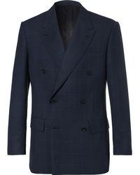 Kingsman - Arthur's Navy Double-breasted Checked Suit Jacket - Lyst