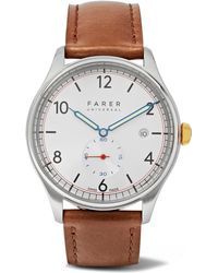 Farer - Stark Stainless Steel And Leather Watch - Lyst