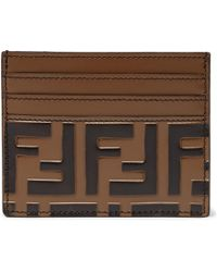 Fendi - Branded Leather Card Holder - Lyst