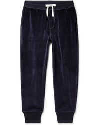AMI - Tapered Cotton-blend Velour Joggers - Lyst