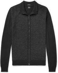 BOSS - Textured Virgin Wool Zip-up Cardigan - Lyst