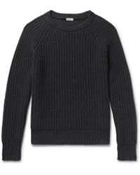 Eidos - Ribbed Mélange Cashmere And Cotton-blend Sweater - Lyst