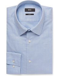 BOSS - Light-blue Jack Slim-fit Washed-cotton Shirt - Lyst