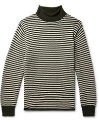 J.Crew - Striped Cotton Rollneck Jumper - Lyst