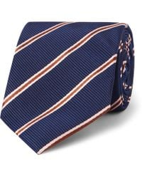Kingsman - + Drake's 8.5cm Striped Silk And Cotton-blend Faille Tie - Lyst