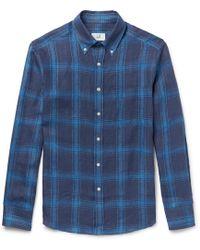 Dunhill - Button-down Collar Checked Linen Shirt - Lyst