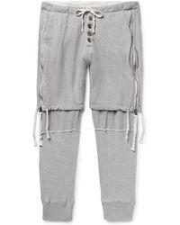 Greg Lauren - Tapered Zip-detailed Loopback Cotton-jersey Sweatpants - Lyst