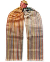 Paul Smith - Striped Wool And Silk-blend Scarf - Lyst