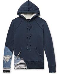 Greg Lauren - Slim-fit Distressed Denim And Stripe-panelled Loopback Cotton-jersey Hoodie - Lyst