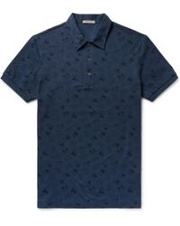 Bottega Veneta - Printed Cotton-piqué Polo Shirt - Lyst