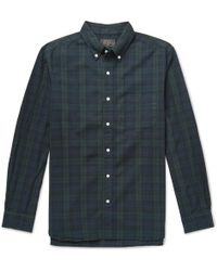 Beams Plus - Button-down Collar Black Watch Checked Cotton Shirt - Lyst
