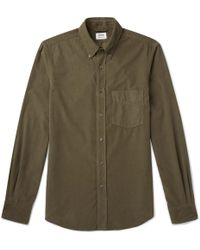 Aspesi - Slim-fit Button-down Collar Cotton-corduroy Shirt - Lyst