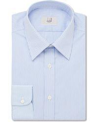 Dunhill - Blue Slim-fit Striped Cotton-poplin Shirt - Lyst